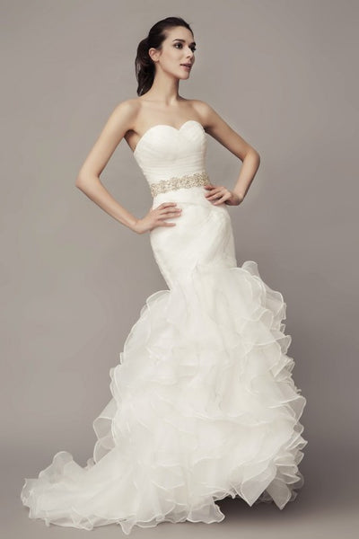 sweetheart-corset-mermaid-wedding-gown-with-ruffles-organza-skirt