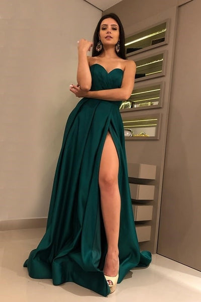 sweetheart-hunter-green-prom-dresses-with-high-thigh-slit