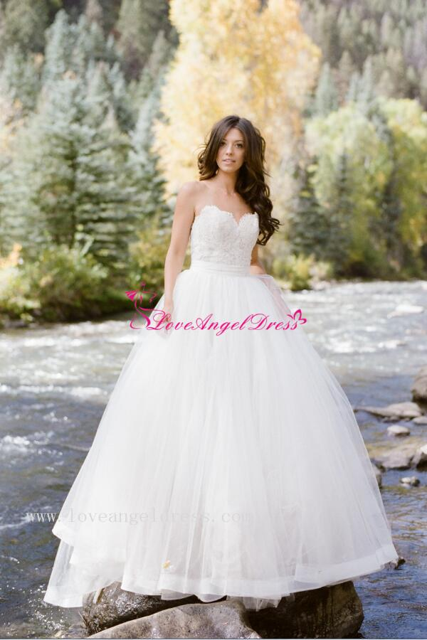 Sweetheart Lace Backless Princess Ball Gown Wedding Dresses ...