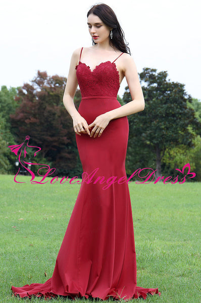 sweetheart-lace-satin-red-mermaid-evening-dresses-with-spaghetti-straps