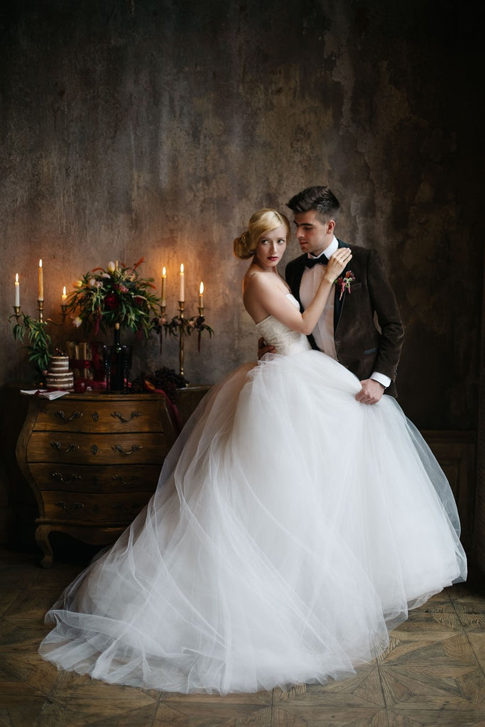 Sweetheart Lace Tulle Princess Ball Gown Wedding Dresses ...