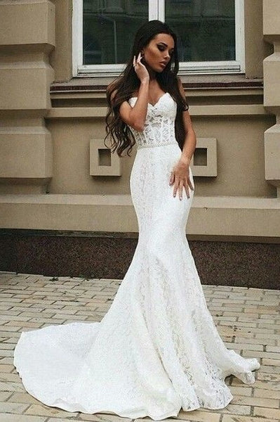 Mermaid Style Wedding Dress.Sweetheart Lace Wedding Dress Mermaid Style