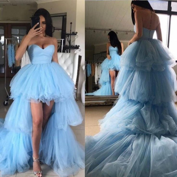 Sweetheart Light-blue Hi-Low Prom Dress with Layers Skirt