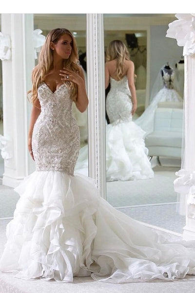 sweetheart-rhinestones-wedding-dresses-mermaid-ruffled-train