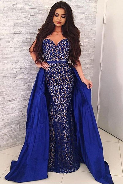 0706ee1e1fd Sweetheart Sapphire Blue Lace Prom Dresses with Satin Skirt – loveangeldress