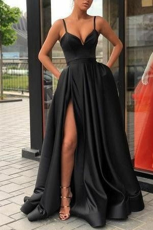Black V-neck Bodice Sequin Prom Dresses with High Thigh-slit