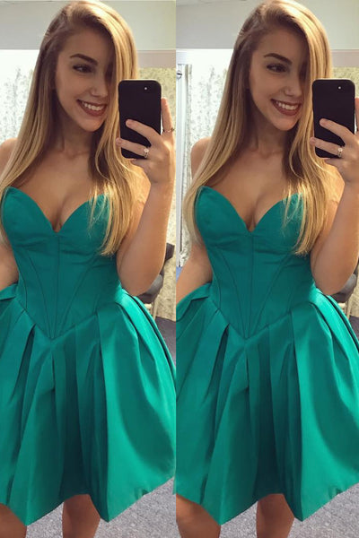 sweetheart-satin-hunter-green-homecoming-party-gown-backless