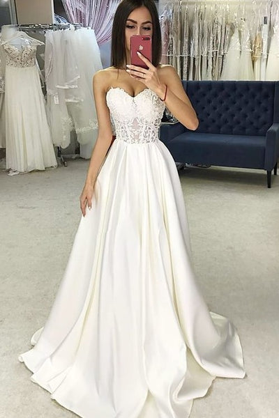 65ce085d41dd Sweetheart Sheer Lace Corset Wedding Dresses Satin Skirt – loveangeldress