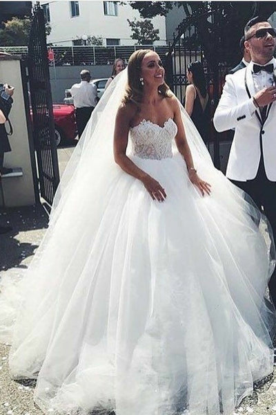 sweetheart-tulle-bride-ball-gown-dresses-with-lace-bodice