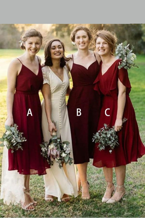 tea-length-chiffon-bridesmaid-dresses-short-vestido-de-la-dama-de-honor