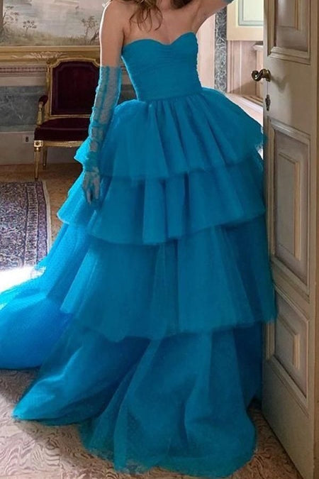 Royal Blue Tulle Appliques Prom Dresses with Double Straps