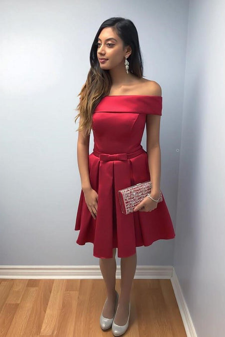 Thick Satin Red Cocktail Dress with V-neckline