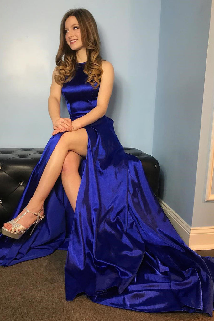 Thigh-high slit Royal Blue Long Prom Gown with Hollow Back ...