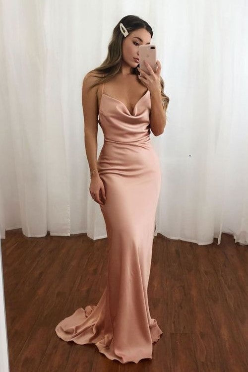 thin-straps-blush-bridesmaid-gown-with-ruching-details