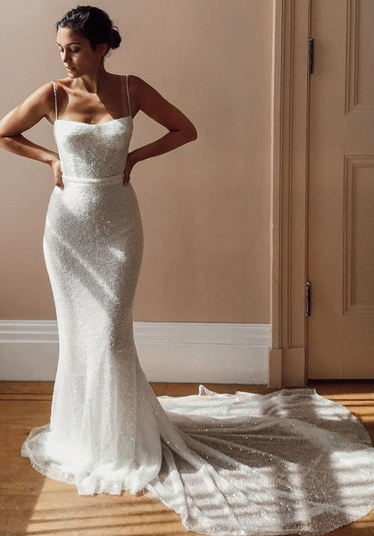 Thin Straps Sequins Wedding Dresses Open Back