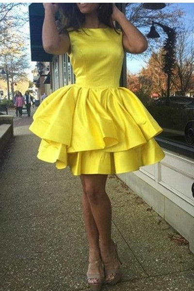 7f1317317 Tiered Skirt Yellow Homecoming Dresses Short Satin Gown – loveangeldress
