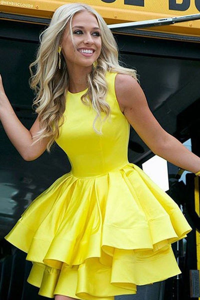 tiered-skirt-yellow-homecoming-dresses-short-satin-gown