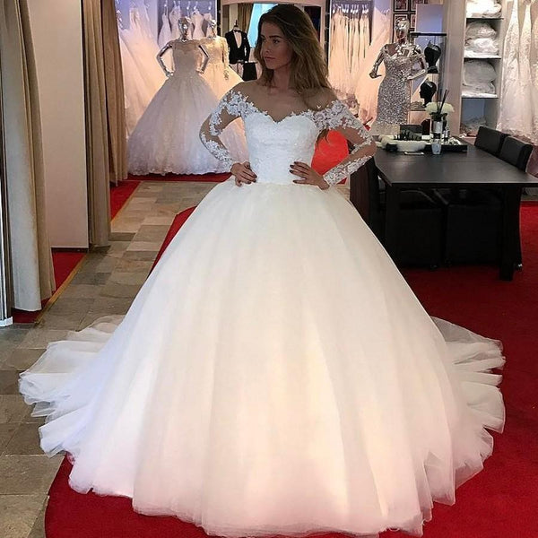 tulle-ball-gown-wedding-dresses-with-lace-long-sleeves-2019-2