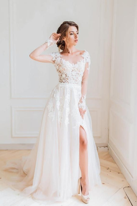 Illusion Neckline Chiffon Bride Wedding Dresses with Lace Cap Sleeves