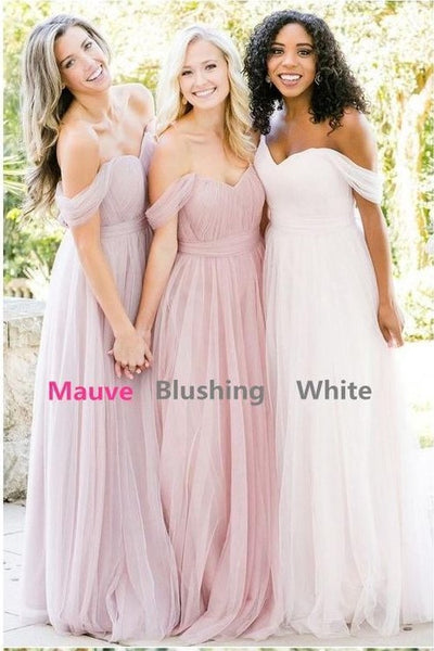 tulle-blush-pink-bridesmaid-dresses-off-the-shoulder-1