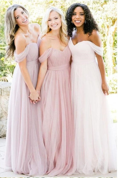 tulle-blush-pink-bridesmaid-dresses-off-the-shoulder