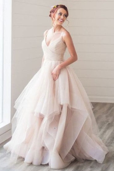 Blush Wedding Dress.Tulle Blush Pink Wedding Dress With Spaghetti Straps