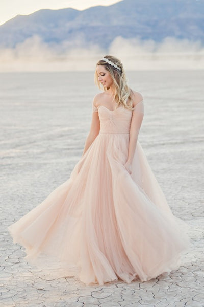 Tulle Blushing Pink Bride Dresses For Beach Weddings