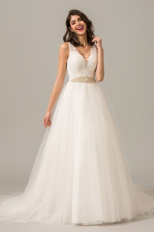 Tulle Skirt A-line Ivory Wedding Dress Lace