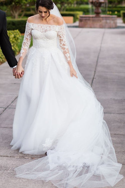 6117d3103b784 Tulle Skirt Lace Three Quarter Sleeves Wedding Dresses Off-the-shoulde –  loveangeldress