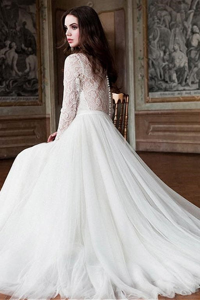 tulle-skirt-modest-wedding-dresses-lace-long-sleeves-1