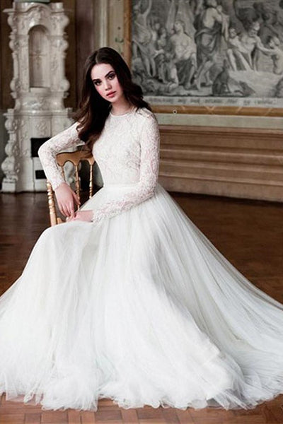 tulle-skirt-modest-wedding-dresses-lace-long-sleeves