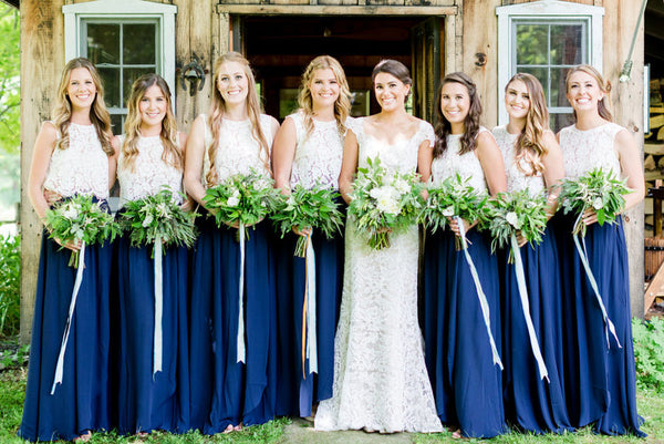 ed920f365db9 Two-Piece Bridesmaid Dress Royal Blue Skirt with Lace Separate Top ...