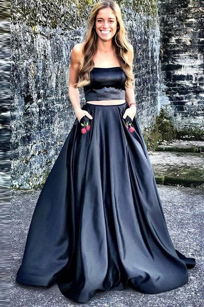 80e55503fb2 Two Piece Nark Navy Prom Dress with Cherry Embroidery Pockets –  loveangeldress