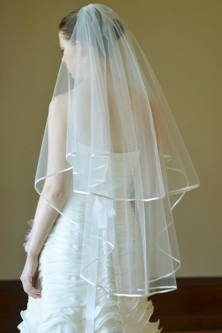 Rustic Simple Fingertip Ivory Wedding Veil Cut Edge
