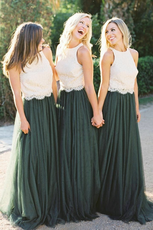two-tone-lace-and-tulle-long-bridesmaid-dresses-custom-made