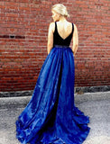 two-tone-v-neck-a-line-prom-long-dresses-with-bead-belt-1