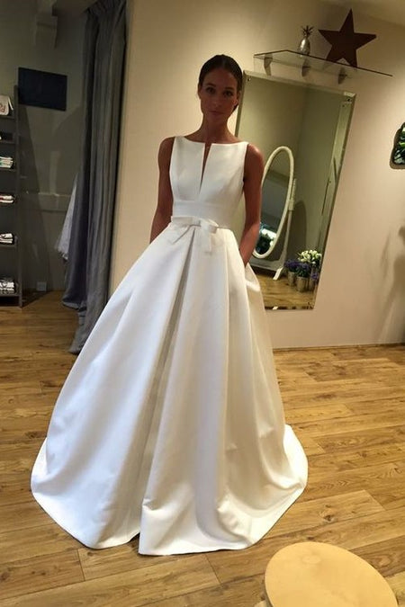 Strapless Open Back Satin Wedding Gown with Pockets