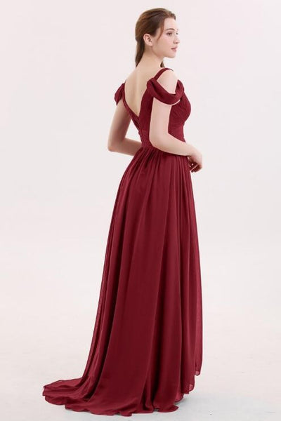 unique-off-the-shoulder-burgundy-bridesmaid-gowns-long-chiffon-skirt-1