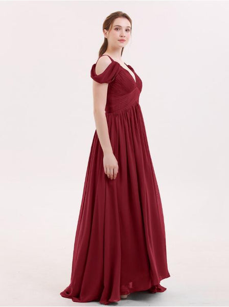 unique-off-the-shoulder-burgundy-bridesmaid-gowns-long-chiffon-skirt-2