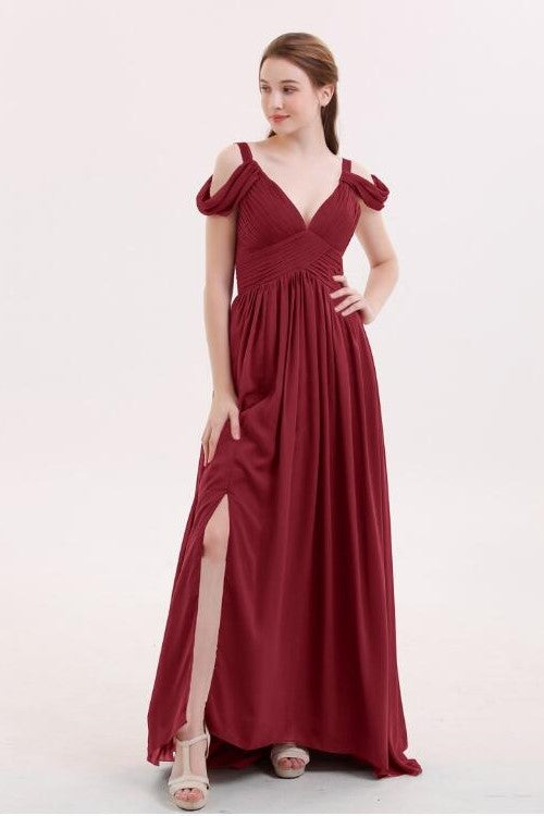 unique-off-the-shoulder-burgundy-bridesmaid-gowns-long-chiffon-skirt