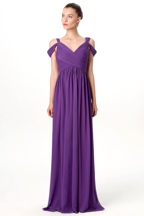 a0718751b5 unique-off-the-shoulder-chiffon-purple-long-bridesmaid-. purple-long- bridesmaid-wedding-guest-dresses