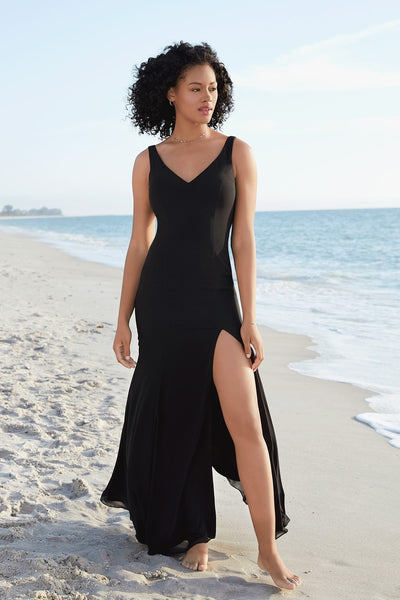 v-neck-black-chiffon-prom-dresses-with-leg-slit