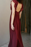v-neck-burgundy-chiffon-long-bridesmaid-dresses