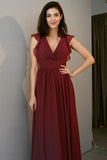 v-neck-burgundy-chiffon-long-bridesmaid-dresses-with-flounced-sleeves-2