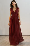 v-neck-burgundy-chiffon-long-bridesmaid-dresses-with-flounced-sleeves