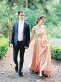 v-neck-elbow-length-pink-wedding-dresses-outdoor-1