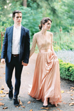 v-neck-elbow-length-pink-wedding-dresses-outdoor