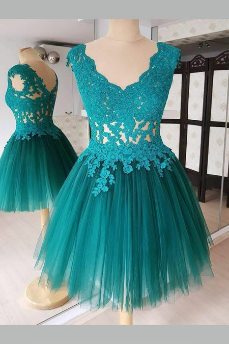 Appliques Tulle Teal Homecoming Dress with Illusion Neckline