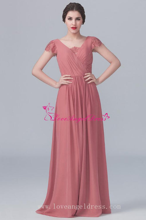 v-neck-lace-capped-sleeves-chiffon-long-dresses-for-bridesmaid