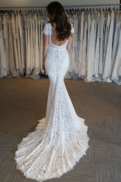 v-neck-lace-mermaid-wedding-dresses-with-sleeves-1